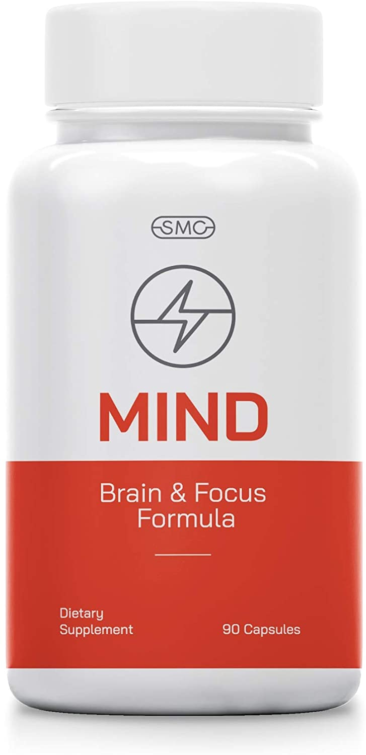 Mind Brain and Focus Formula 90 Veggie Capsules with All Natural Herbal Vitamins with DHA, L-Glutamine, DMAE Much More. Ultimate Brain Supplement for Concentration, ADHD, Memory, Problem Solving