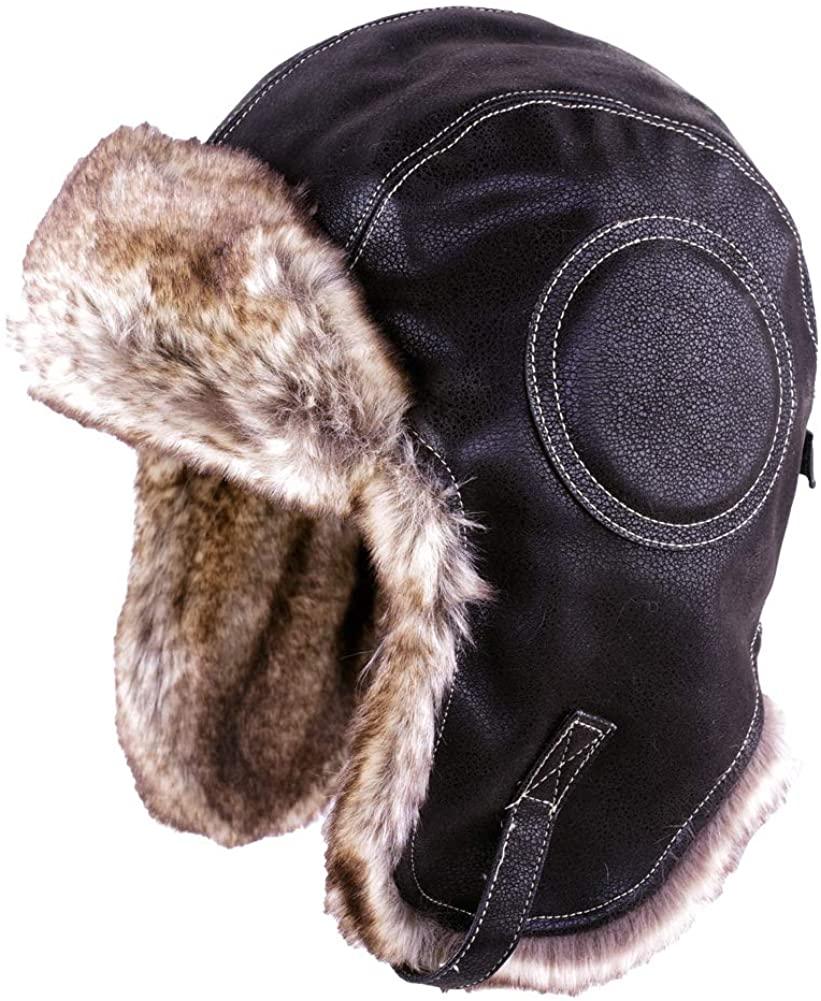 Russian Ushanka Cossack Trooper Trapper Aviator Bomber Hat Fur Lined Earflap Winter Cap with Chin Strap