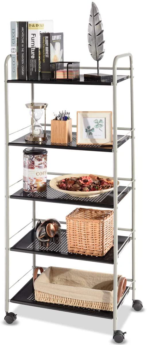 ReunionG Kitchen Rack Trolley 5-Tier Rolling Utility Microwave Rack Cart with Lockable Casters, for Kitchen Warehouse Garage Salon Bathroom
