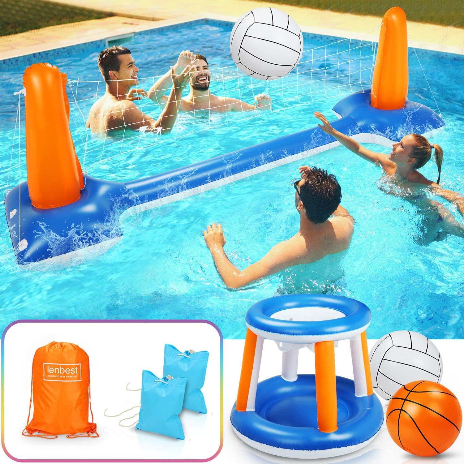 """lenbest Inflatable Volleyball Set, 115"""" Inflatable Pool Float Set Include Basketball Hoop Set & Balls Floating Swimming Pool Toy Pool Volleyball Game for Kids and Adults (115"""" x 38"""" x 28"""")"""