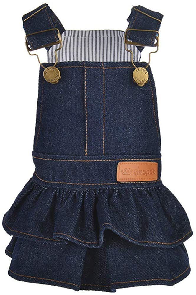 XBKPLO Pet Dress, Dog Pure Color Denim Princess Dresses Puppy Cats Clothes Summer Vest Skirt