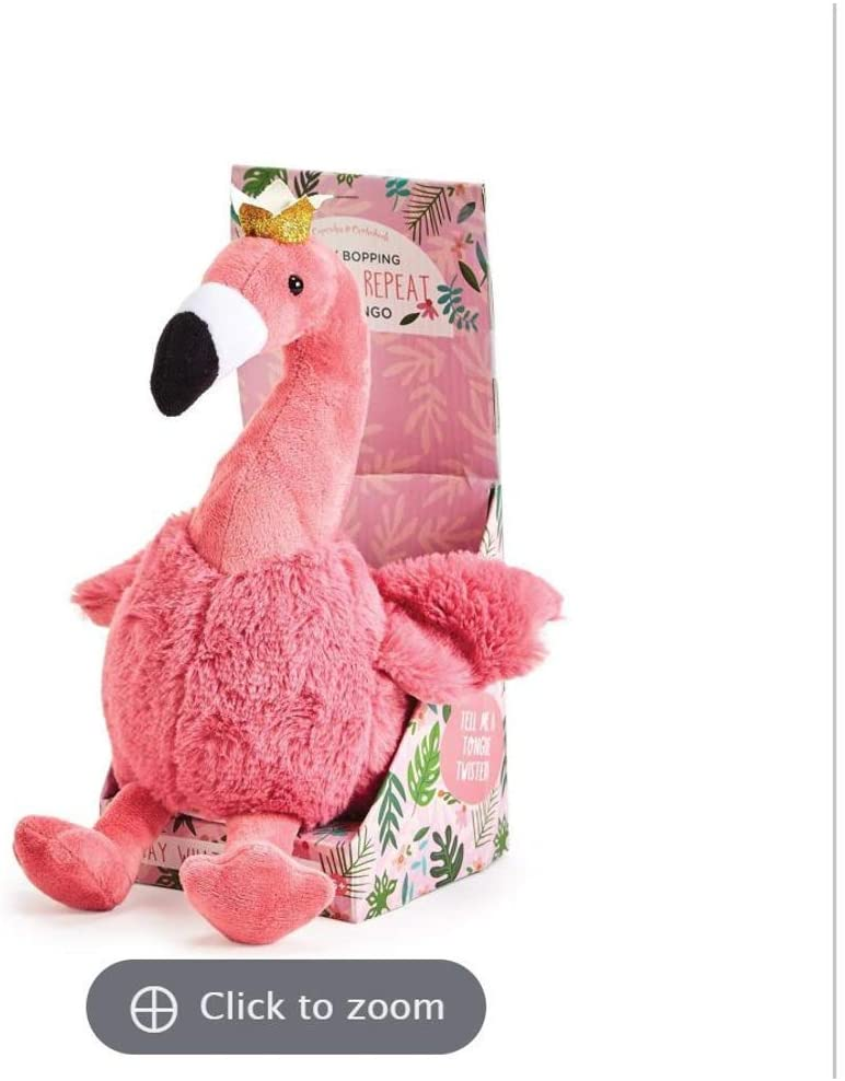 Two's Company Plush Flamingo Speak Repeat in Gift Box