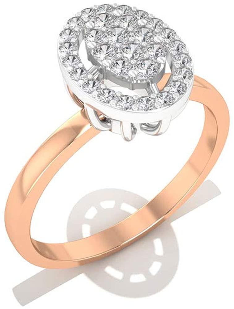 0.25CT IGI Certified Diamond Halo Illusion Engagement Ring, IJ-SI Diamond Cluster Bridal Wedding Ring, Statement Promise Matching Mother Day Ring Gift, 14K Rose Gold, Size:US 9.5