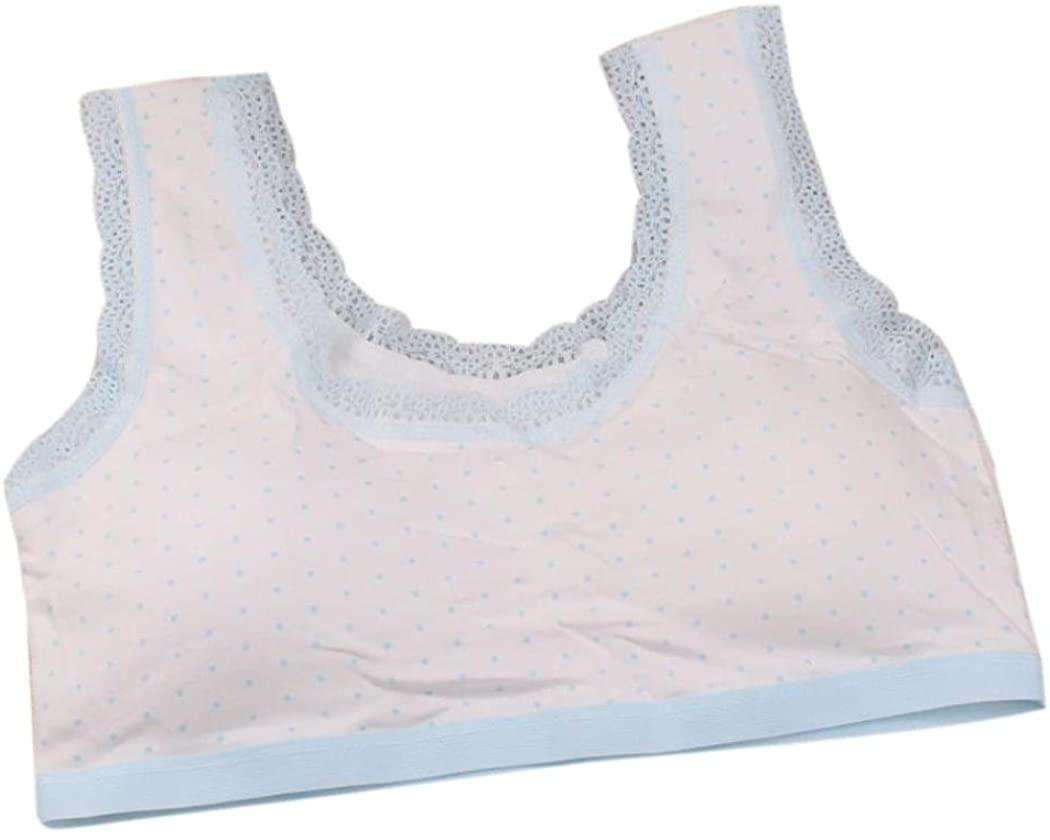 Lovely Children Girls Lace Polka Dot Underwear Bra Vest Puberty Underclothes Sport Undies 10-14Y