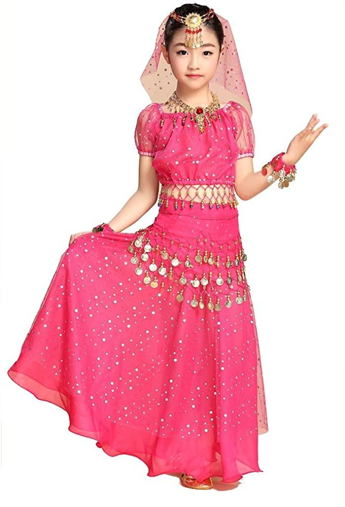 Pilot-trade Kid Elegant Belly Dance Costume Set Outfit Shiny Top Skirt Hip scarf Dark Pink