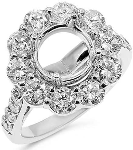 LARGE 2.40CT DIAMOND 14KT WHITE GOLD 3D HALO FLOWER SEMI MOUNT ENGAGEMENT RING