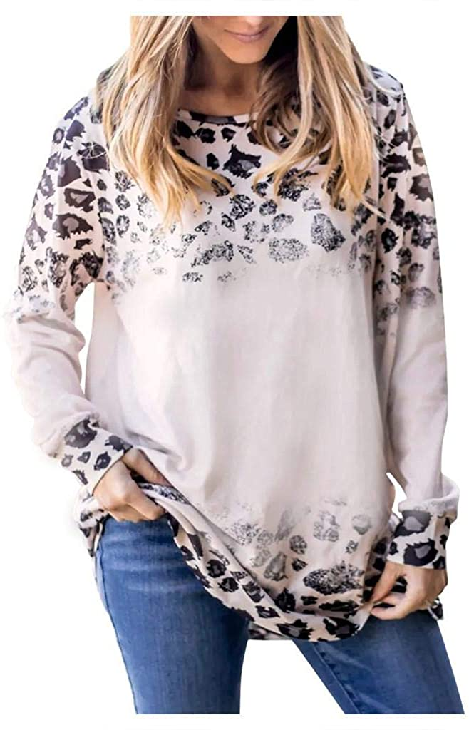 terbklf Leopard Print Tops for Women Women's Casual Shirts Basic Long Sleeve Soft Blouse Pullover for Women Plus Size