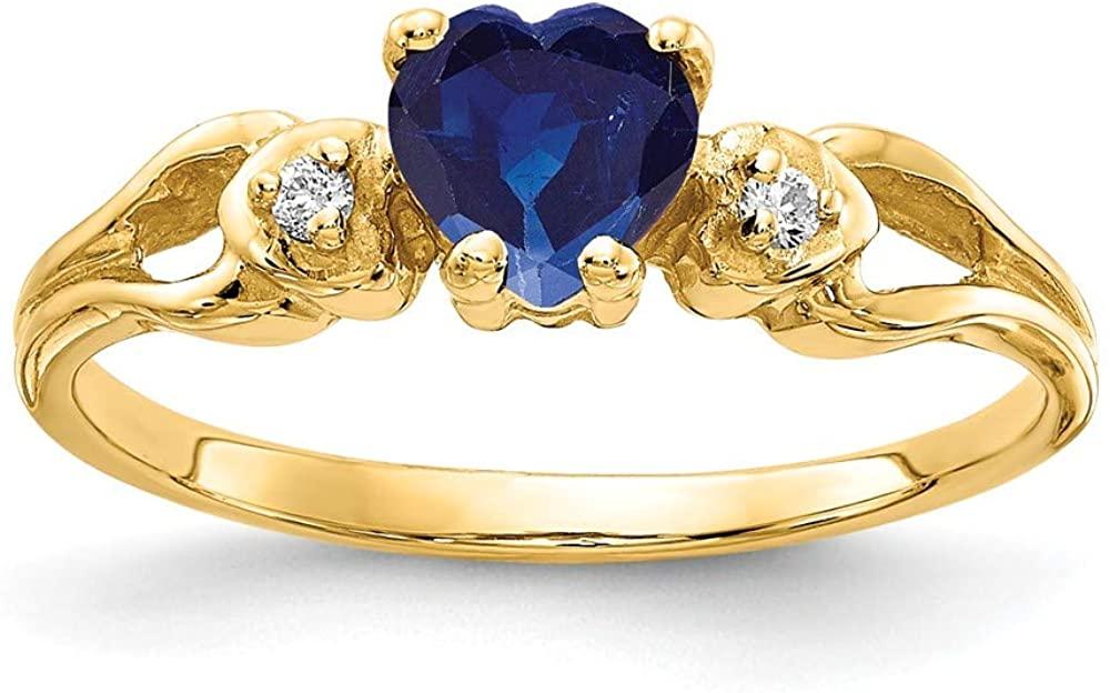 Solid 14k Yellow Gold 5mm Heart Sapphire Blue September Gemstone VS Diamond Engagement Ring (.02 cttw.)