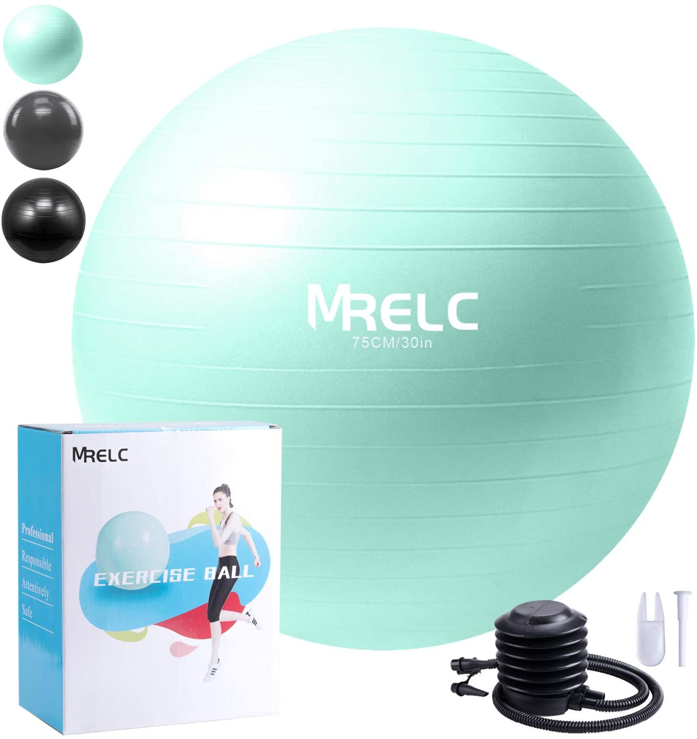 MRELC Exercise Ball Yoga Ball Fitness Ball Birthing Ball,(2200lbs Professional Grade Anti Burst Tested)£¬ Slip Resistant Stability Balance Ball for Fitness,Pilates & Yoga with Quick Pump