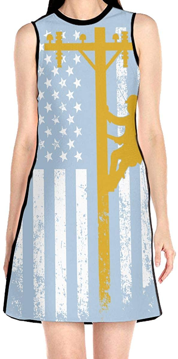 VJH-YY Yellow Lineman Women's Sleeveless Dress Casual Slim A-Line Dress Tank Dresses