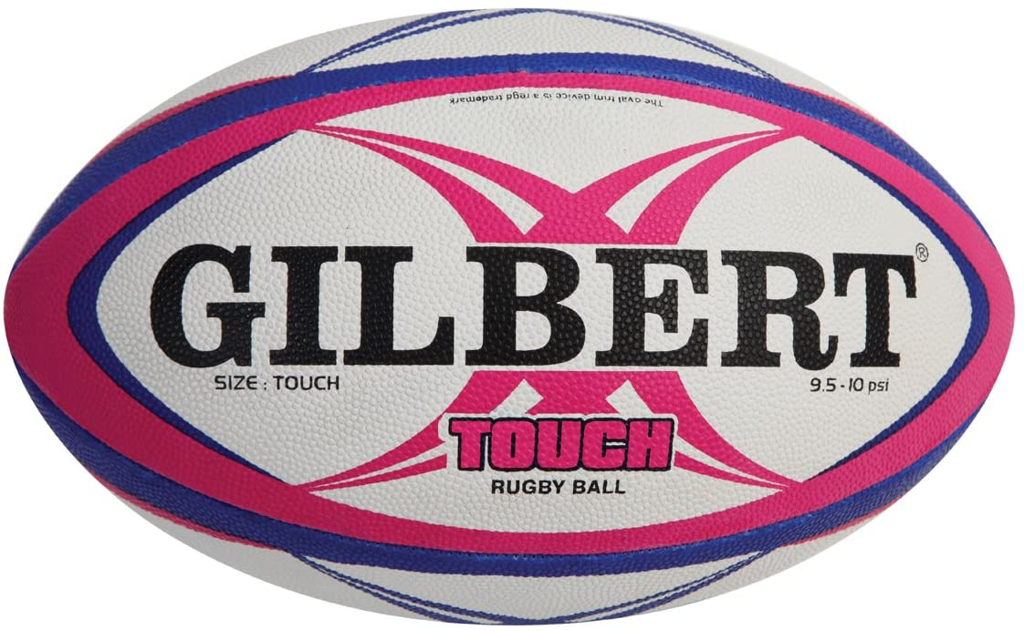 Gilbert Touch Rugby Ball - White/Pink