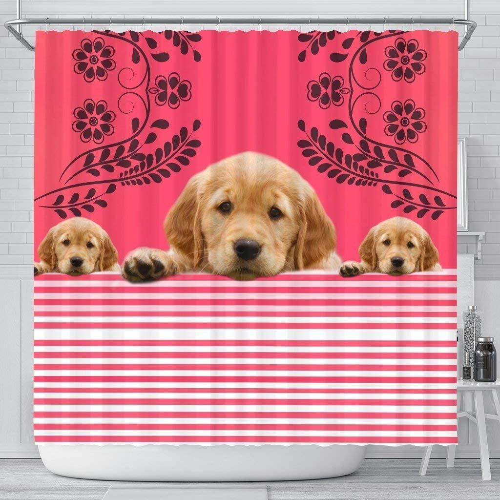 Paws With Attitude Golden Retriever Dog Print Shower Curtain