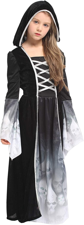 Jelord Halloween Cosplay Girls Skull Princess Dress Novelty Fancy Skull Cloak Dress Costume