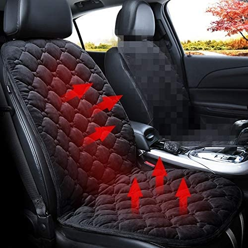 Car Universal Fit Seat Covers Car 24V Front Seat Heater Cushion Warmer Cover Winter Heated Warm, Single Seat (Color : Black)