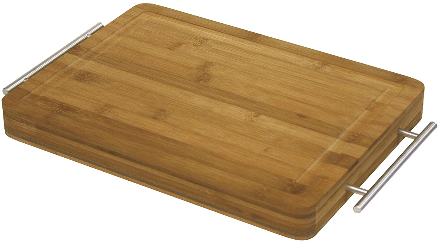 Simply Bamboo Wood Cutting and Serving Board with Metal Handles | Chopping Board | Butcher Block | Carving Fruits, Meats, Veggies - 18