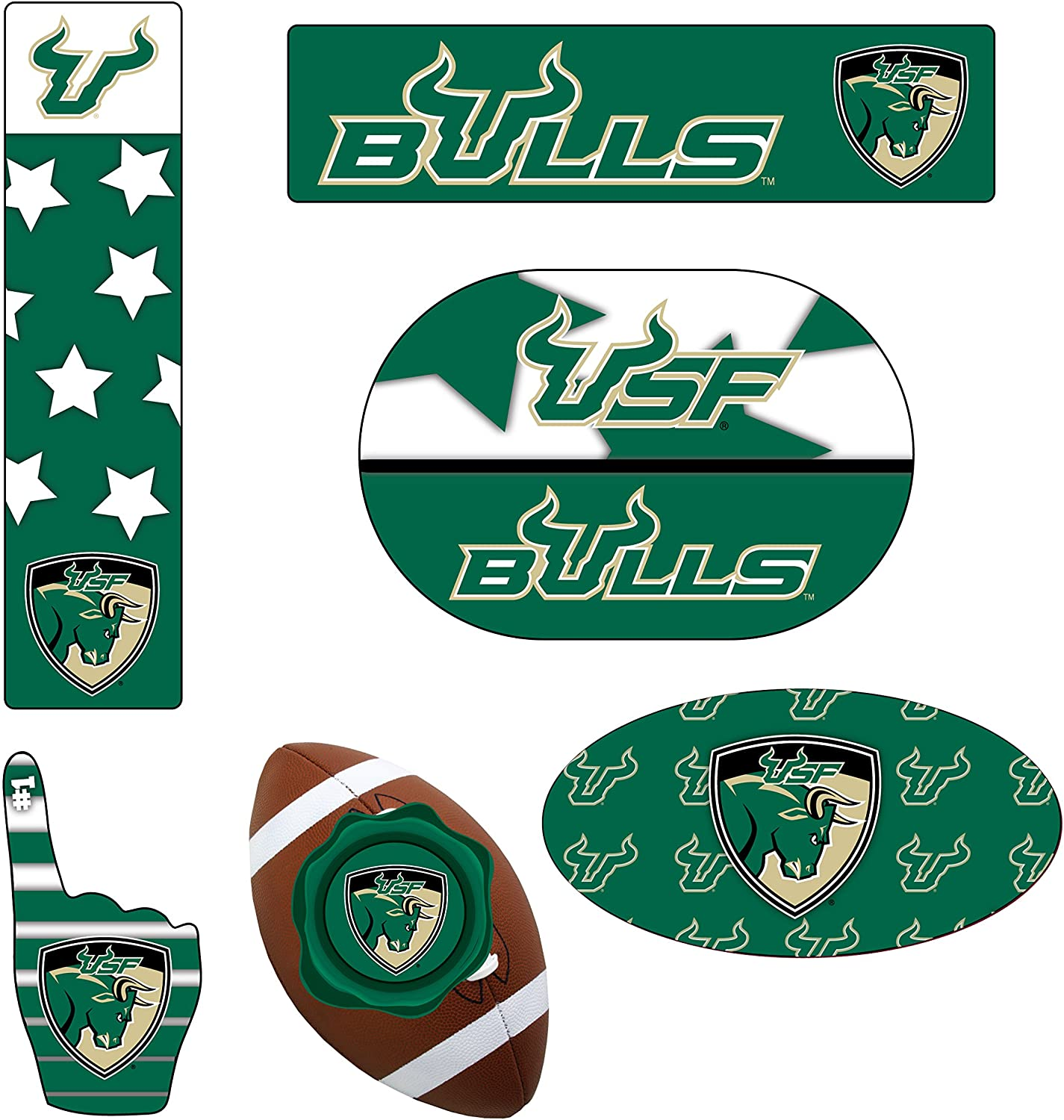 SOUTH FLORIDA BULLS MAGNET SET-SOUTH FLORIDA BULLS 6 PACK OF CAR MAGNETS-AWESOME TAILGATE PACK