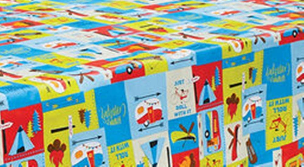HAPPY DEALS ~ Vinyl Flannel Back Tablecloth - Camping Adventure - 54x82 inch