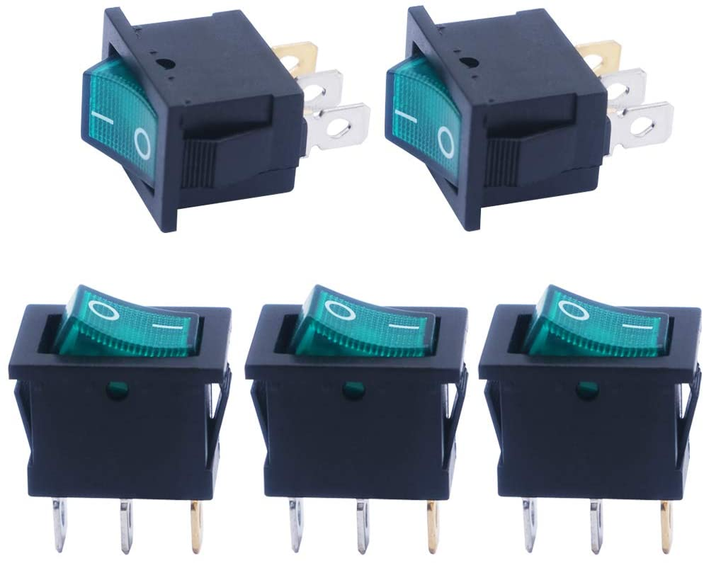 mxuteuk 5pcs AC110V Boat Rocker Switch, Green Light Illuminated Snap-in Toggle Power Switch SPST ON-Off 3 Pin AC 250V 6A 125V 10A Use for Car Auto Boat Household Appliances MXU1-2-101NG