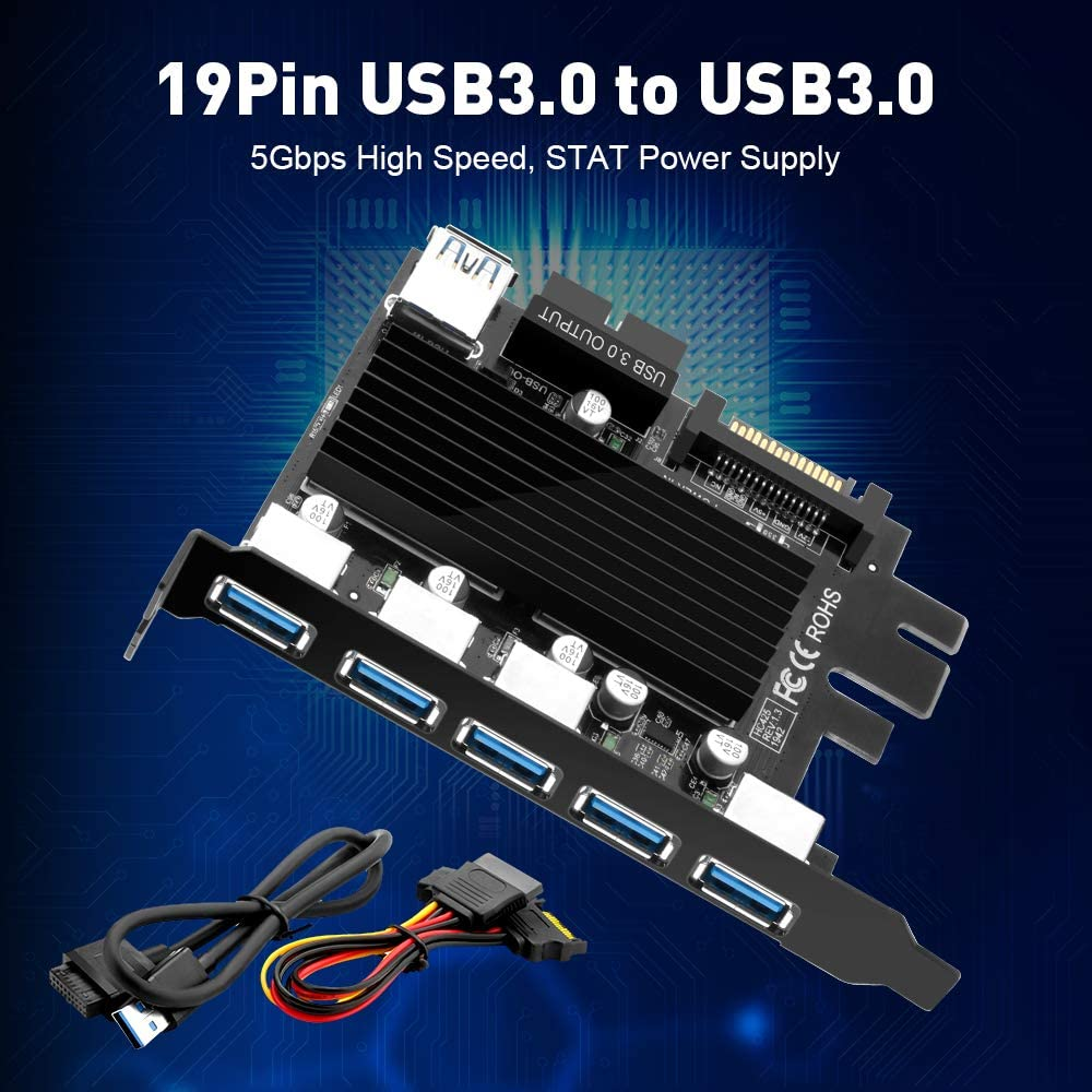 Rocketek Motherboard 19 Pin USB to 5 Ports USB 3.0 Express Card, 5 USB 3.0 Ports Expansion Card with 15 Pin SATA Power Connector, Superspeed USB 3.0 Hub for Desktop PC, No Driver Need
