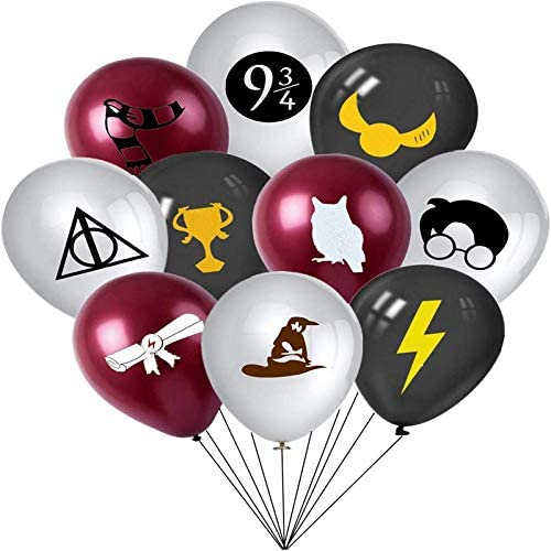 Magician Harry Party Supplies 24 Pcs Magician Harry Balloons 12 Latex Balloons for Kids Potter Birthday Party Favor Supplies Decorations Perfect for Your Magic Wizard School Themed Party