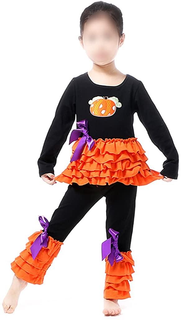 Boutique Clothing Set Girls Halloween Pumpkin Playwear Ruffle Pant Set 2pc