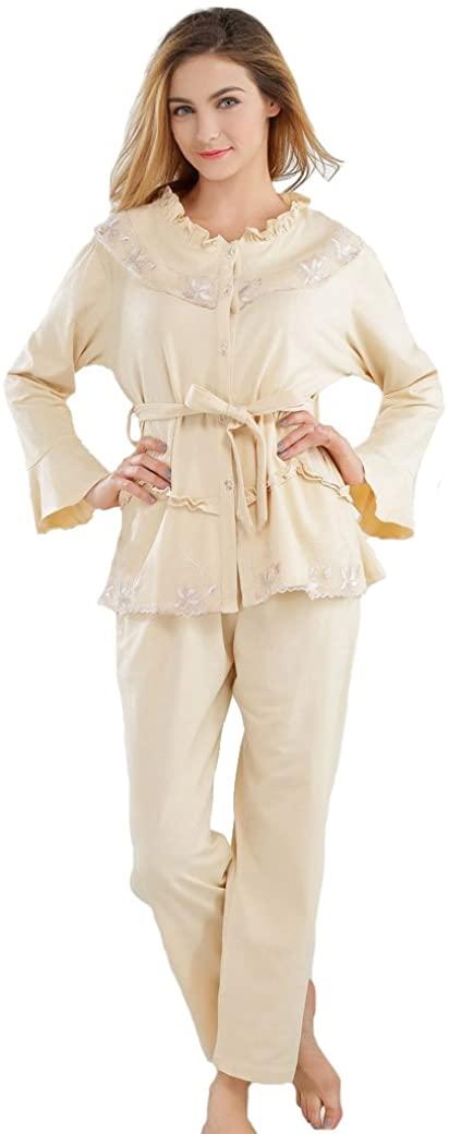 Tonwhar Women's Embroidery Lace Two-Piece Pajama Sleepwear Set (L, Yellow)