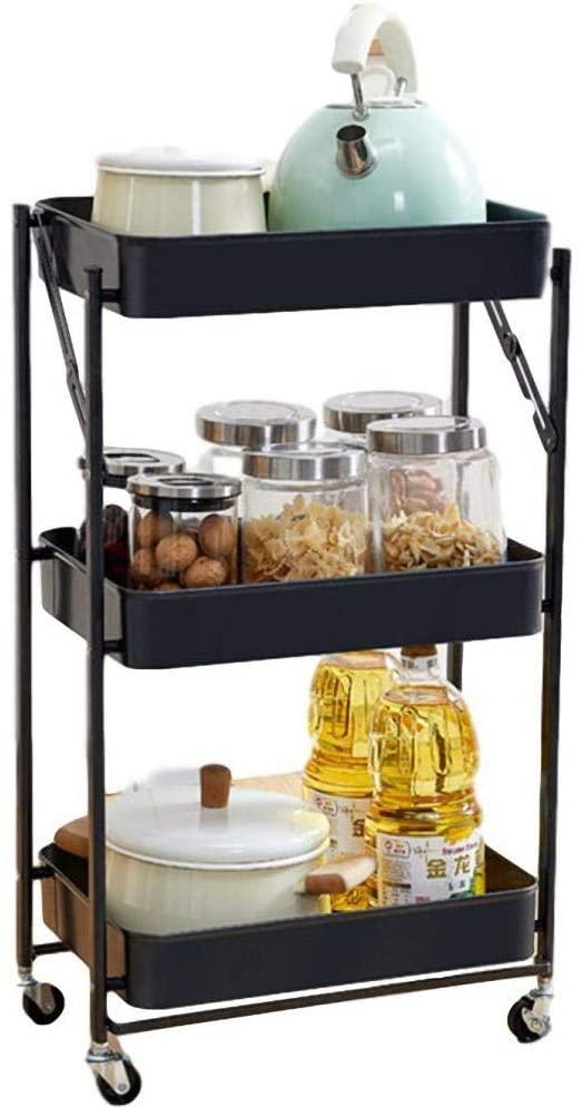3-Tier Kitchen Storage Trolleys with Casters,Black Plastic Craft Storage Trolley for Kitchen Office Garage Home