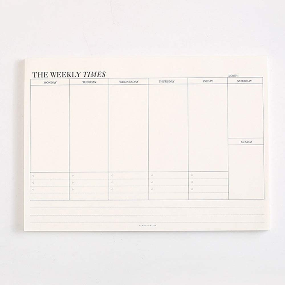 DSstyles Study Memo,Schedule Notepad Monthly Weekly Plan Student Office School Stationery Weekly Plan