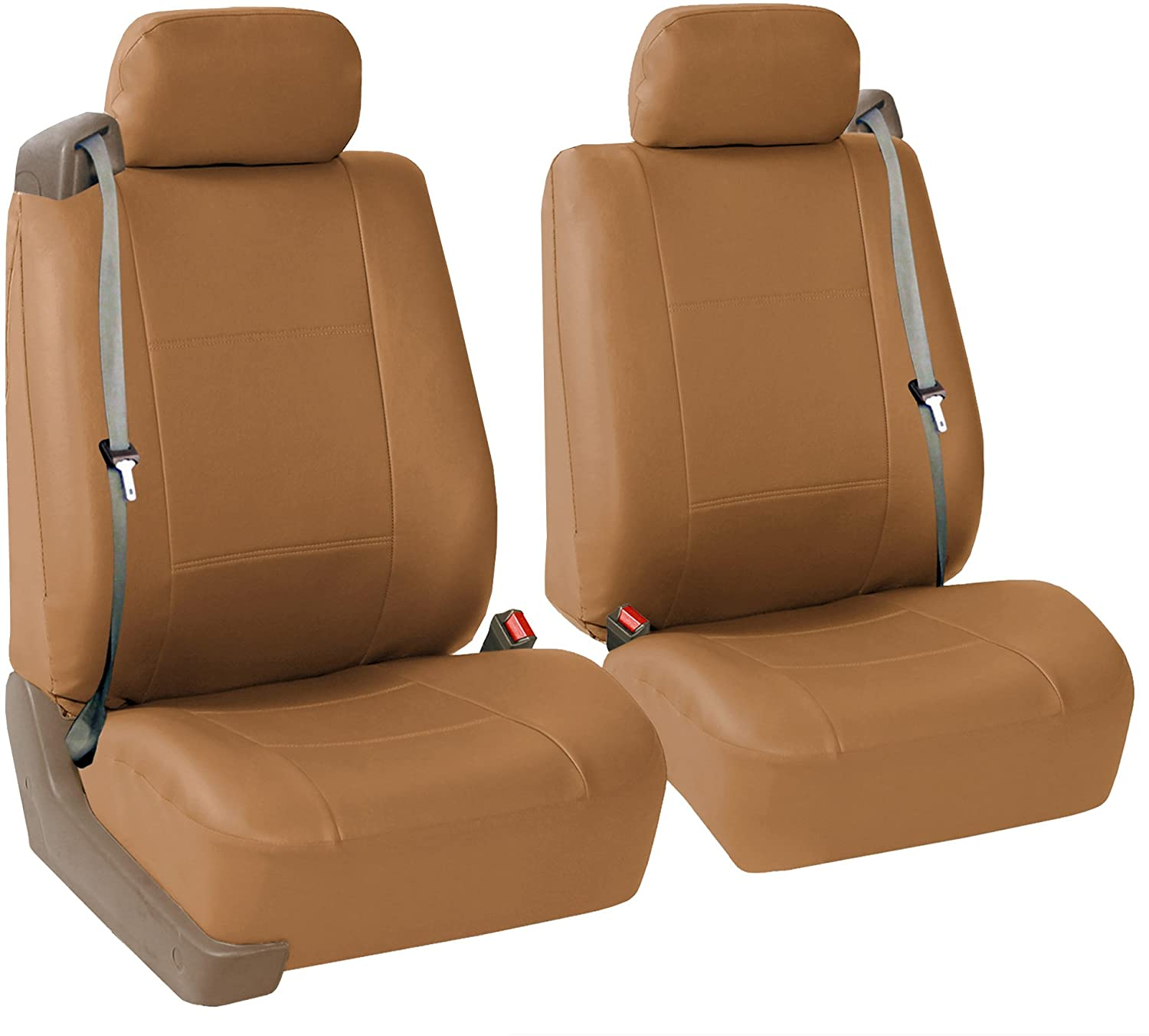 FH Group PU309102 All-Purpose Built-in Seat Belt PU Leather Seat Covers (Tan) Front Set – Universal Fit for Cars Trucks & SUVs