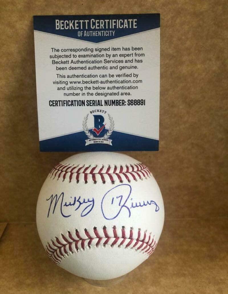 Autographed Mickey Rivers Baseball - M l Beckett S68891 - Beckett Authentication - Autographed Baseballs