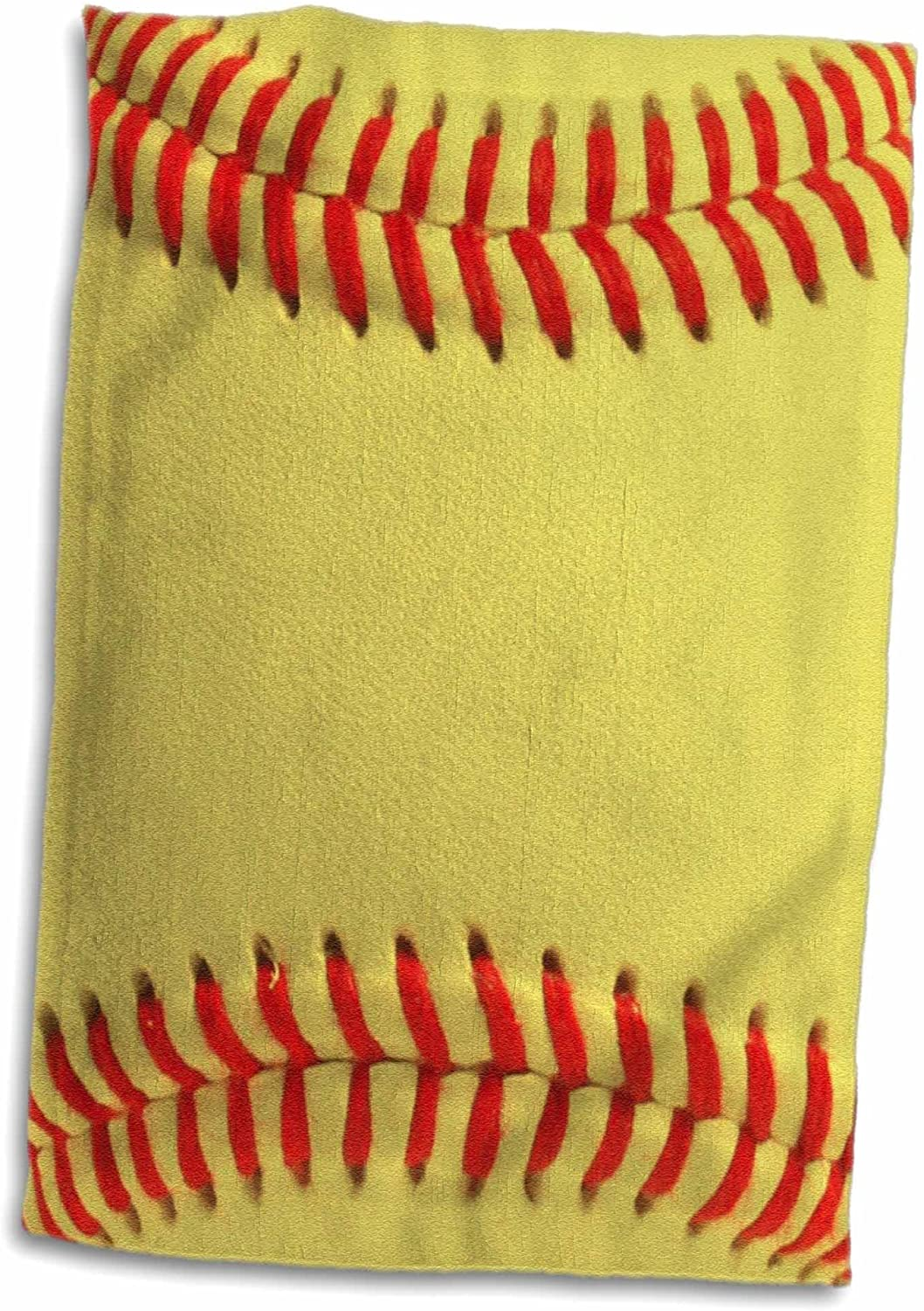 3D Rose Softball Close-Up Photography Print-Yellow and Red Soft Ball for Sporty Fans Team Players Hand/Sports Towel, 15 x 22, Multicolor