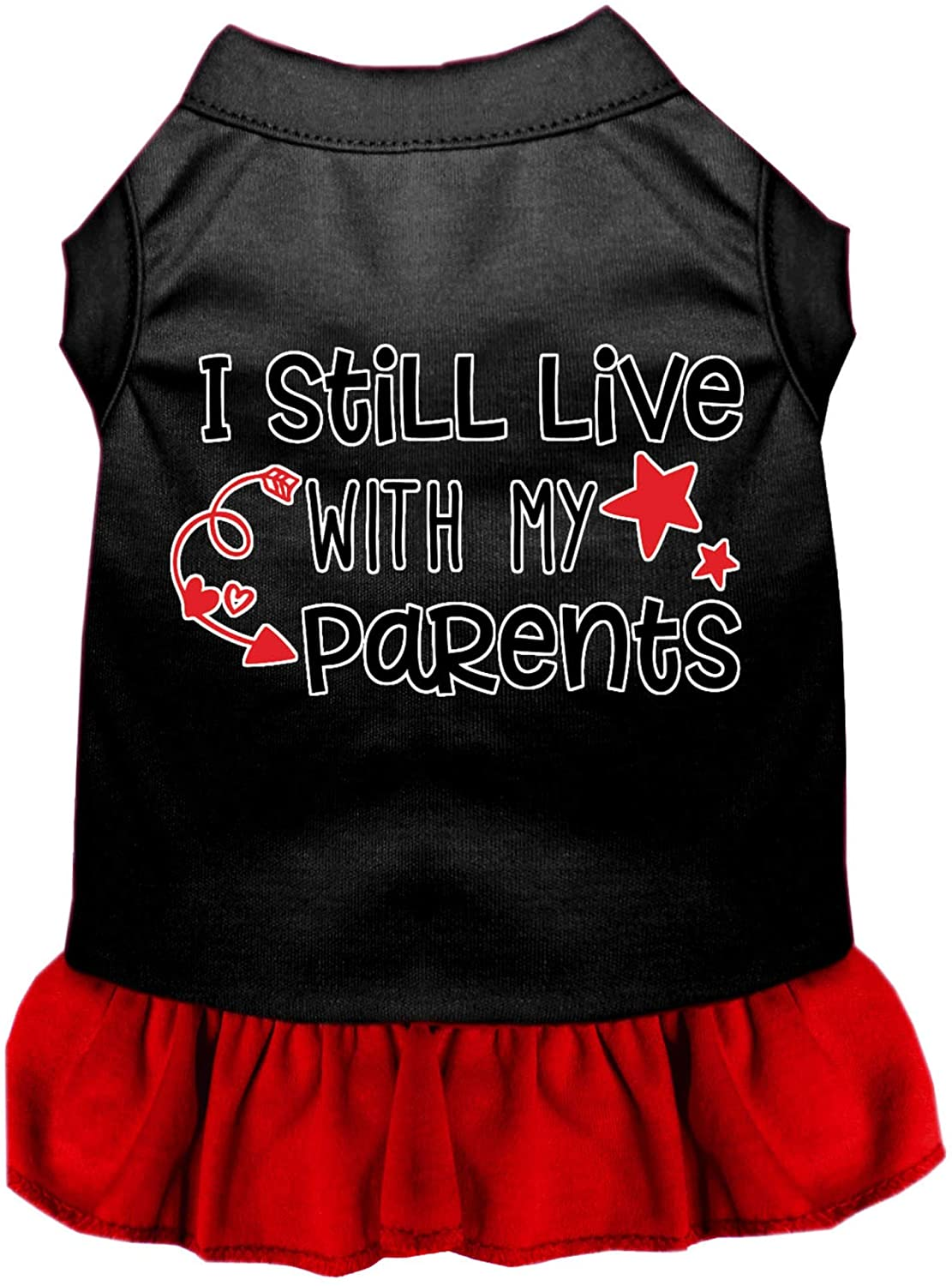 Mirage Pet Product Still Live with My Parents Screen Print Dog Dress Black with Red XXXL (20)