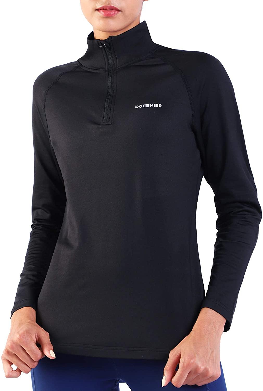 Ogeenier Women's Micro Fleece 1/4 Zip Pullover Thermal Running Tops Athletic Workout Running Jacket