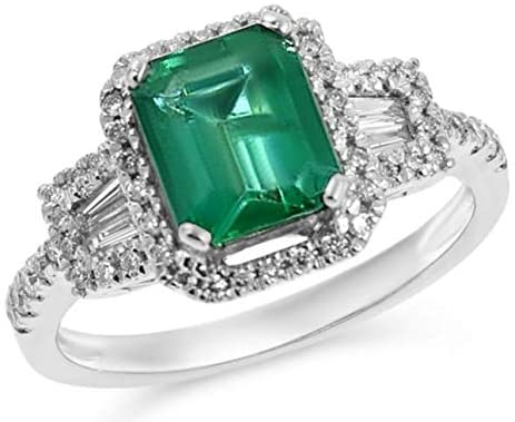 2.13CT DIAMOND & AAA EMERALD 18KT WHITE GOLD 3D SQUARE & ROUND ENGAGEMENT RING