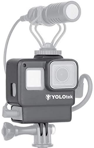 YOLOTEK Pro Vlogger GoPro Hero 5 6 7 Case (w Audio Adapter Splitter & Cold Shoe Mount Microphone LED Light & Accessories - Go Pro Action Camera Compatible vlogging Frame Housing Shell for Video Vlog
