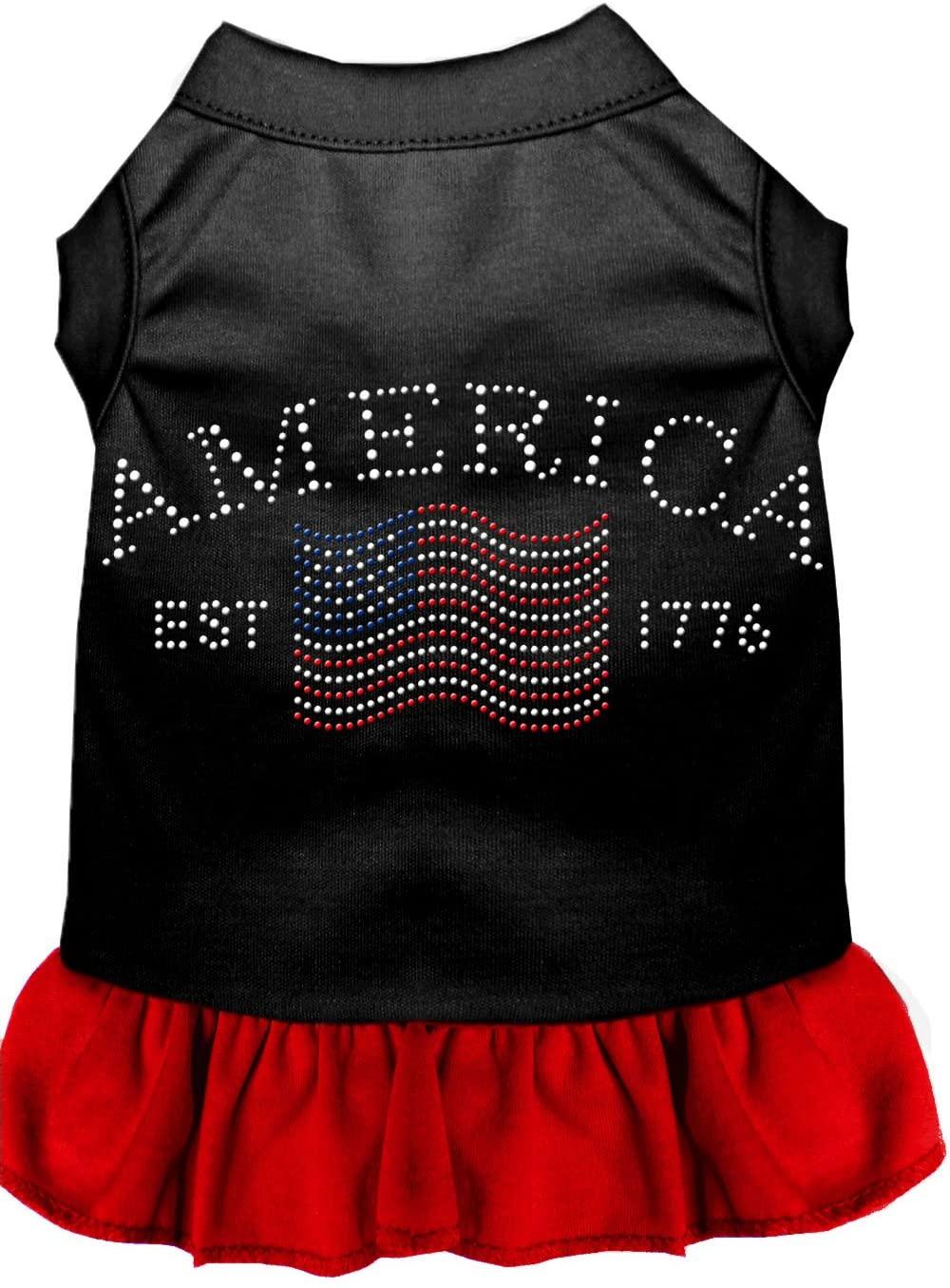 Mirage Classic American Rhinestone Dog Dress - Black with Red Skirt