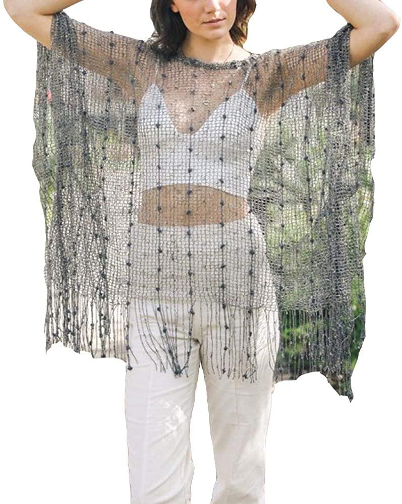 Sparkle Cardigan Sequin and Pom Tassel Net Edge Poncho Cardigan Long Kimonos for Women