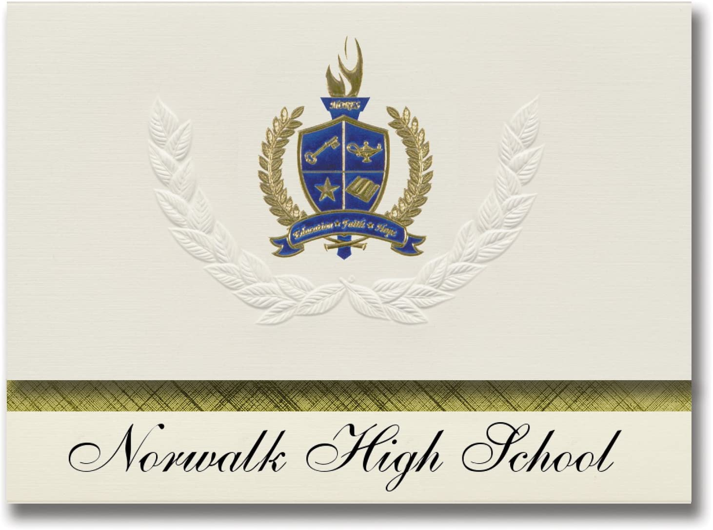 Signature Announcements Norwalk High School (Norwalk, CT) Graduation Announcements, Presidential style, Basic package of 25 with Gold & Blue Metallic Foil seal