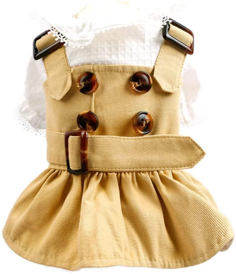 LUCACO Dog Plaid Dress Scotland Dog Dresses Sleeve for Small/Medium Dogs Cat Dress Princess Dog Coat Clothes
