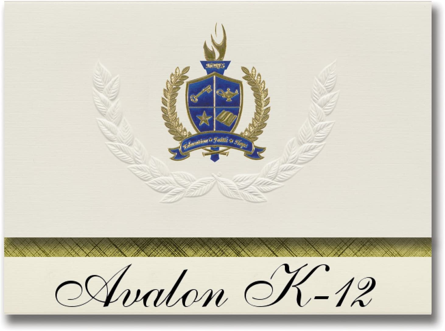 Signature Announcements Avalon K-12 (Santa Catalina, CA) Graduation Announcements, Presidential style, Elite package of 25 with Gold & Blue Metallic Foil seal