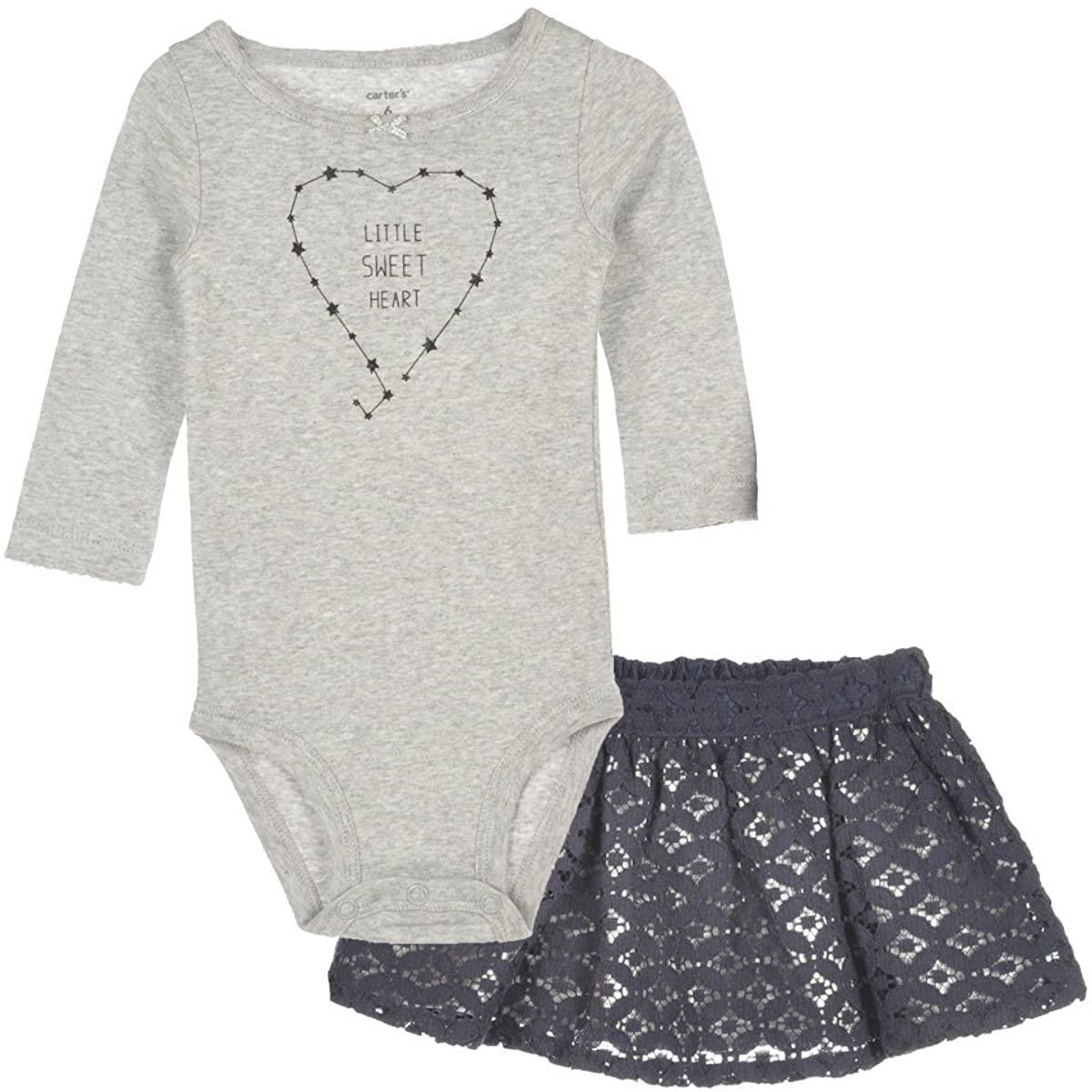 Carter's Baby-Girl 2-Piece 'Little Sweet Heart' Bodysuit & Shimmer Lace Skirt Set