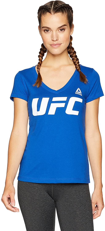Reebok UFC Womens UFC Essentials Logo Dual Blend V-Neck Tee