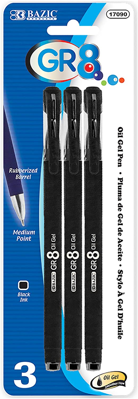 BAZIC GR8 Black Oil-Gel Ink Pen w/Rubberized Barrel (3/Pack), 1-Pack