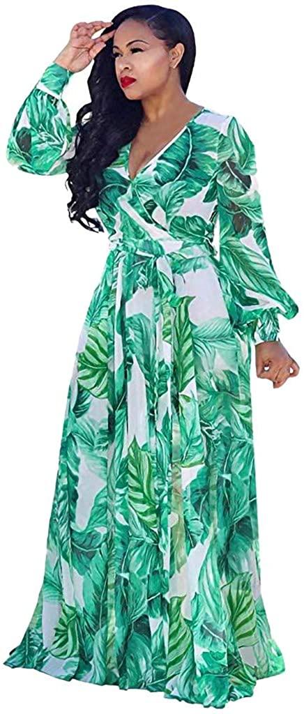ZEFOTIM ✿ Womens Maxi Dress Stylish Chiffon V-Neck Printed Floral with Waisted Belt Plus