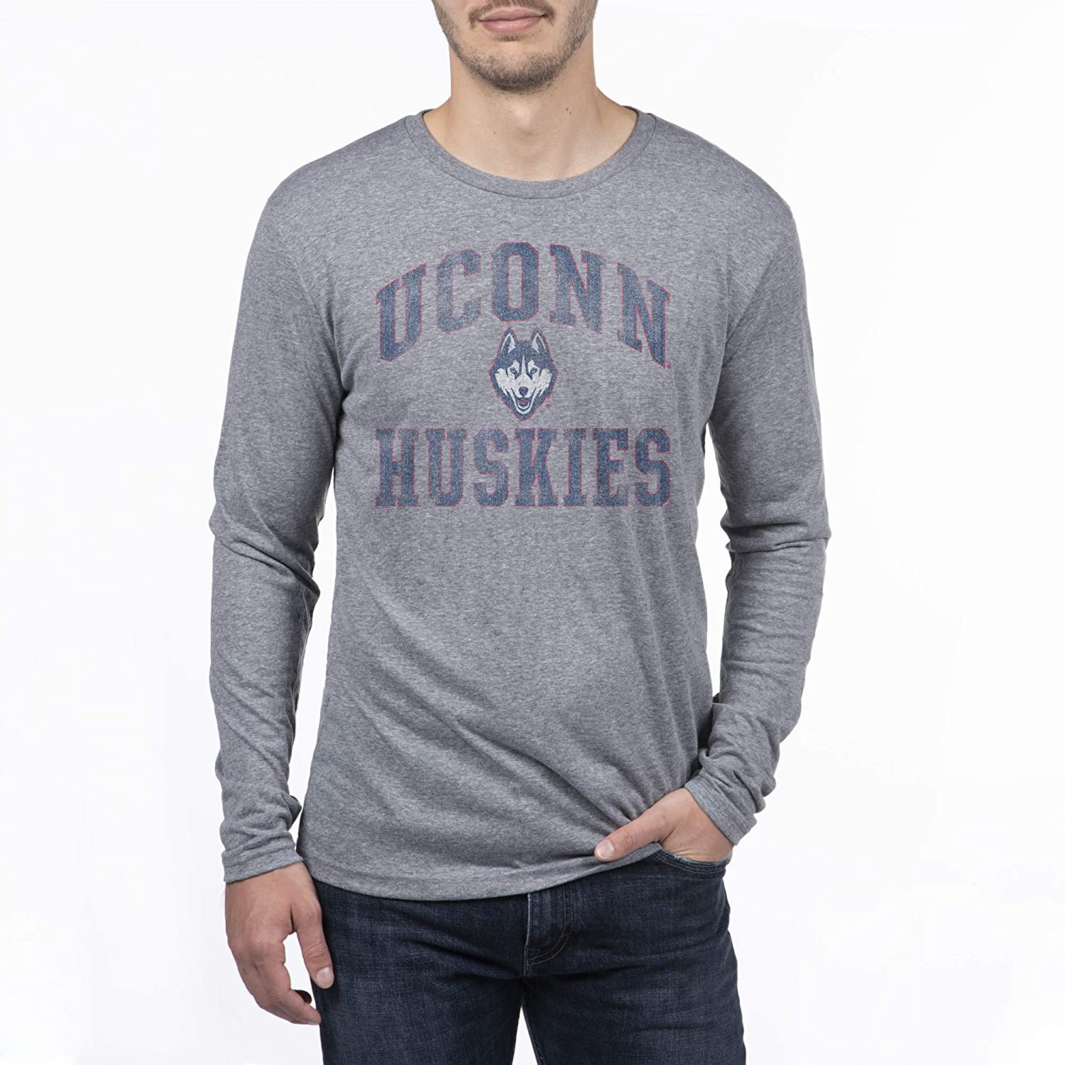 Top of the World Men's Modern Fit Premium Tri-Blend Long Sleeve Gray Heather Distressed Mascot Arch Tee