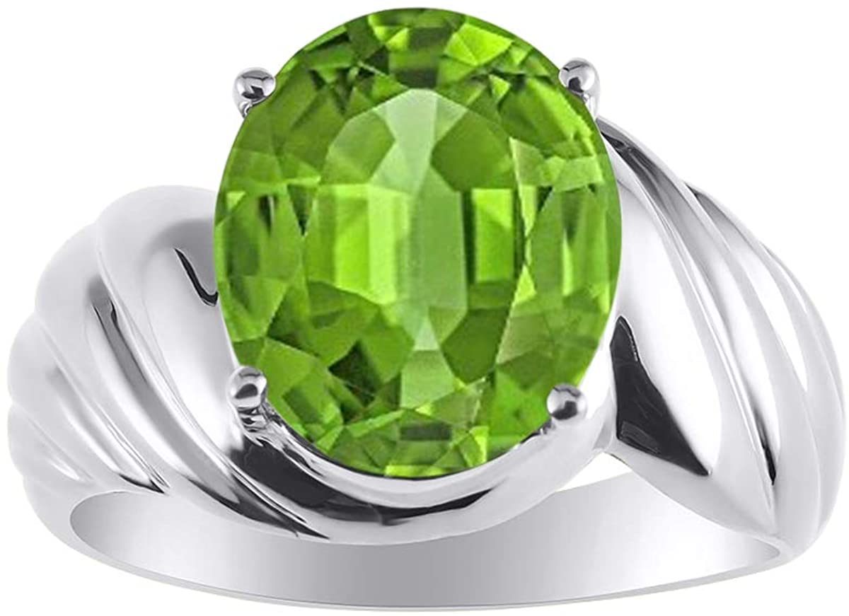 RYLOS Classic Oval Solitaire Ring in Peridot - August Birthstone