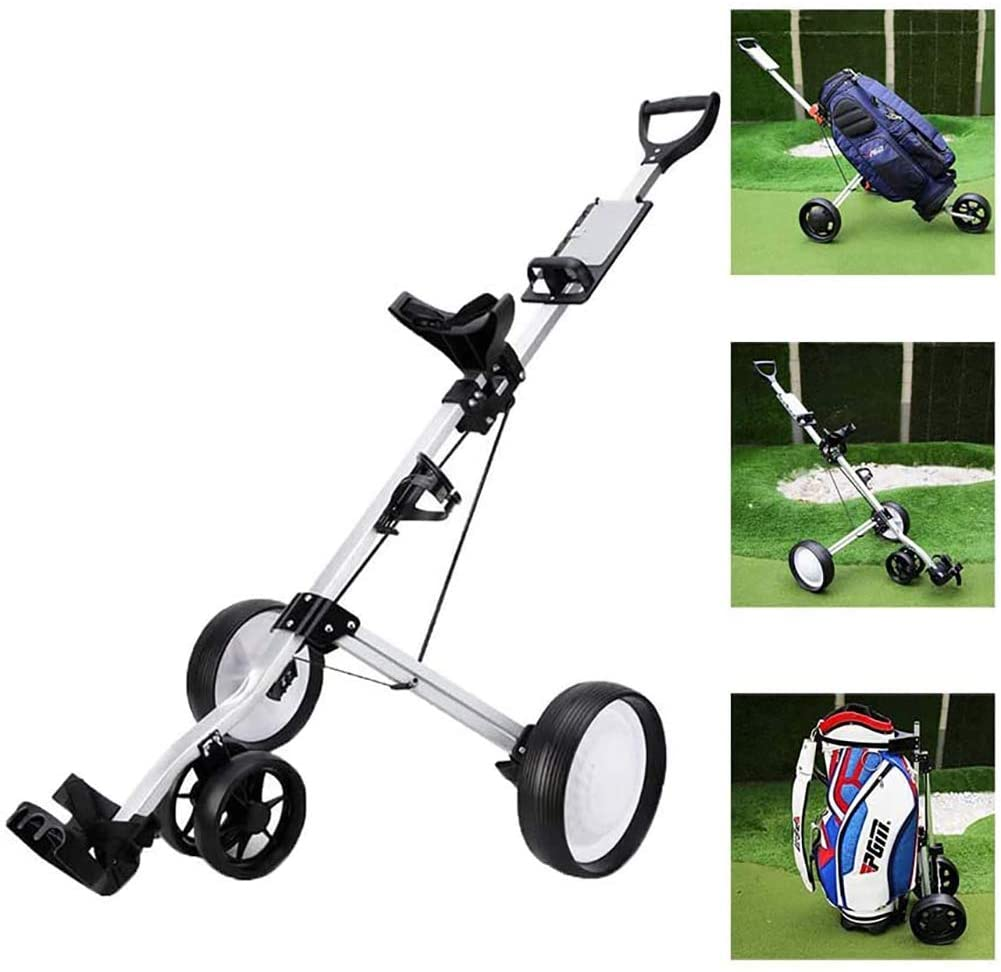 Golf Push Cart, Folding 4 Wheels Golf Pull Cart Trolley with Adjustable Handle Angle/Drink Holder/Foot Brake
