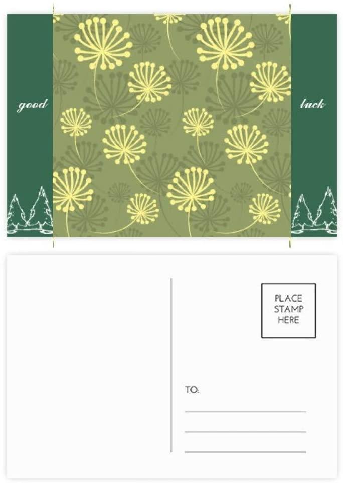 Green Yellow Dandelion Decorative Pattern Good Luck Postcard Set Card Mailing Side 20pcs