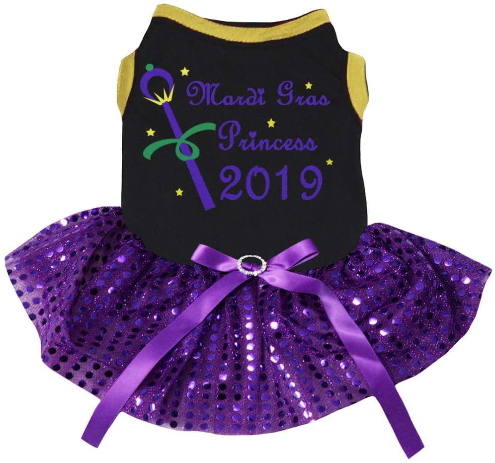 Petitebella Mardi Gras Princess 2019 Cotton Shirt Purple Tutu Puppy Dog Dress