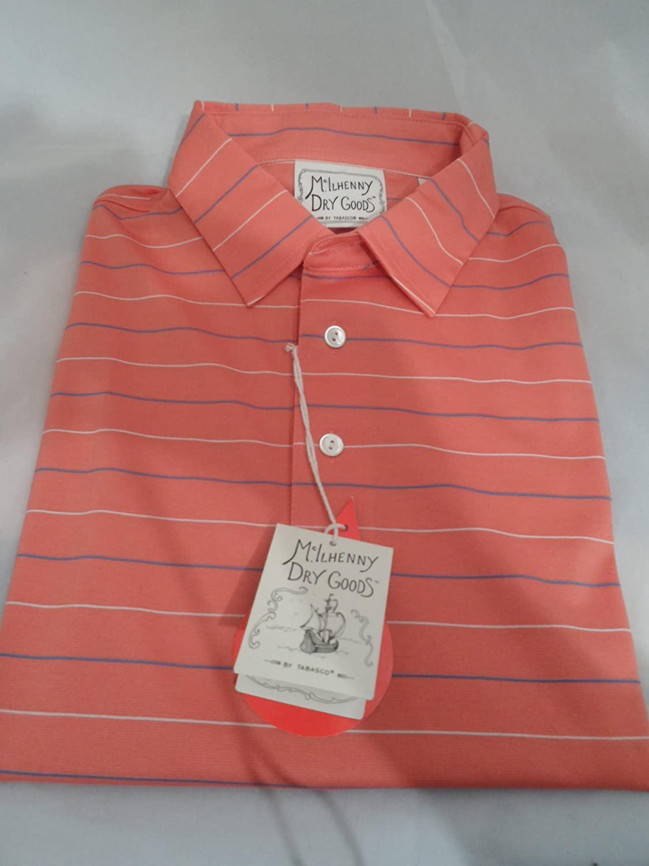 McIlhenny Dry Goods Golf Polo Holiday Stripe Light Coral XXL
